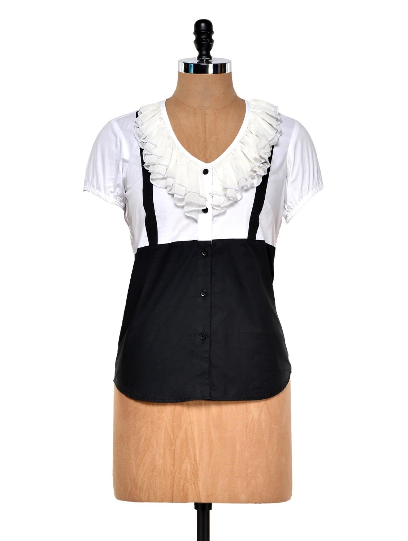 Black And White Frill Shirt - DAZZIO