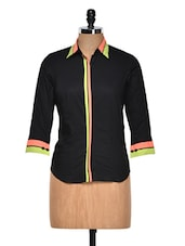 Black Shirt With Neon Cuffs And Placket - DAZZIO