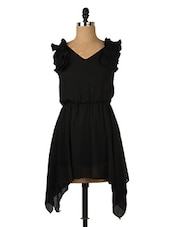 Solid Black Asymmetrical Dress - Queens