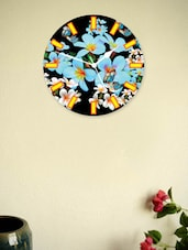 Blue And Black Floral Wall Clock - Zeeshaan