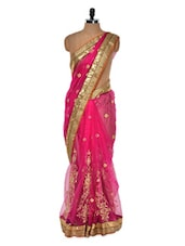 Luxe Pink And Gold Evening Saree - Get Style At Home
