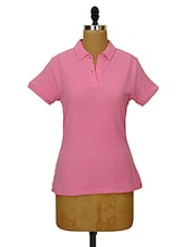 Solid Rose Pink Collared T-shirt - CHERYMOYA