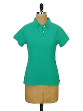 Solid Green Collared T-shirt - CHERYMOYA