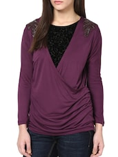 Embellished Purple And Black Top - CHERYMOYA