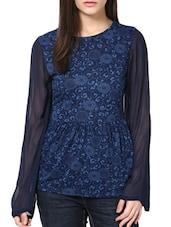 Floral Patterned Top With Sheer Sleeves - CHERYMOYA