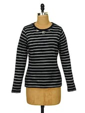 Striped Navy Embellished Neck Top - CHERYMOYA