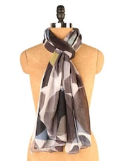 Brown And White Abstract Print Scarf - EIGHTEEN27