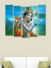 Printed Krishna With Flute Wall Art Painting - 5 Pieces - 999store
