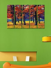Printed Forest Trees Wall Art Painting - 5 Pieces - 999store