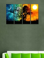 Sunrise at Tree Wall Art Painting - 4 Pieces -  online shopping for Posters