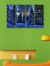 Snow At Tree Wall Art Painting - 4 Pieces - 999store
