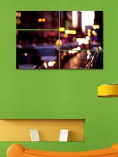 Printed City Road Wall Art Painting- 4 Pieces - 999store