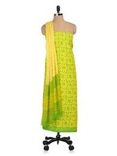 Yellow Floral Print Cotton Un-stitched Suit - PehNava