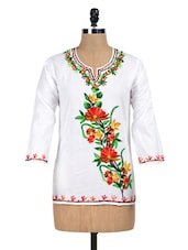 Solid White Kurti With Multicoloured Embroidery - PehNava