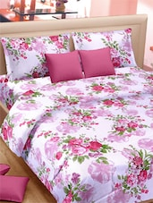 Classy Rose Printed Double Bed Sheet With Pillow Covers - VORHANG