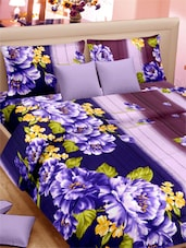 Floral Printed Stripes Double Bed Sheet With Pillow Covers - VORHANG