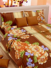 Floral Printed Stripes Double Bed Sheet With Pillow Covers - VORHANG - 941809