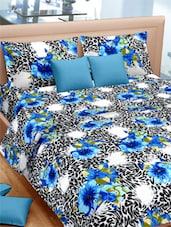 Floral With Animal Printed Double Bed Sheet With Pillow Covers - VORHANG - 941813