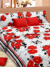 Floral Printed Double Bed Sheet With Pillow Covers - VORHANG - 941823