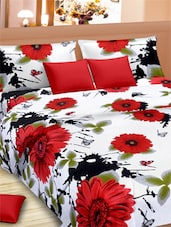 Floral With Butterfly Double Bed Sheet With Pillow Covers - VORHANG