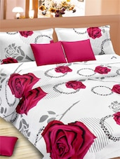Big Rose Printed Double Bed Sheet With Pillow Covers - VORHANG
