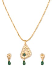 Sparkling Crystal Studded Green Designer Pendant Set - Rich Lady