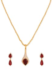 Fancy Crystal Studded Maroon Designer Pendant Set - Rich Lady