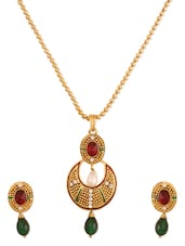 Awesome Maroon Green  Designer Pendant  Set - Rich Lady