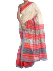 Beige Saree With Red And Grey Border - Saraswati