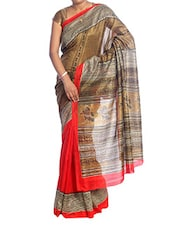 Printed Gold And Red Bridal Saree - Saraswati