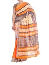 Grey And Orange Regal Polyester Cotton Saree - Saraswati