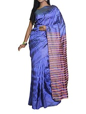 Blue Saree With A Striped Pallu - Cotton Koleksi