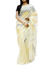 Elegant Cream Half And Half Design Madhabilata Saree - Cotton Koleksi