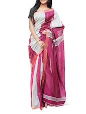 Magenta And Light Grey Bengal Handloom Saree With Panel Design - Cotton Koleksi