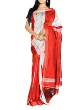 Red And Light Grey Handloom Saree With Panel Design - Cotton Koleksi