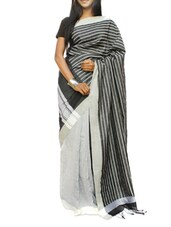Black And Dull Grey Saree With Half Striped And Half Jacquard Work - Cotton Koleksi