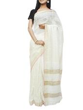 White Cellular Box Weave Saree - Cotton Koleksi
