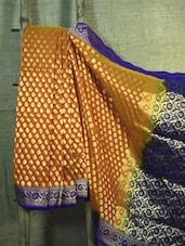 Orange And Blue Georgette Banarasi Saree - BANARASI STYLE