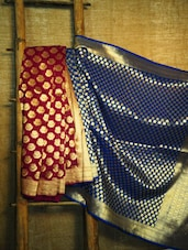 Magenta And Royal Blue Banarasi Saree - BANARASI STYLE