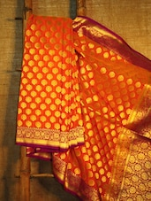 Orange And Gold Banarasi Saree - BANARASI STYLE - 942529