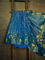 Blue And Gold Banarasi Saree - BANARASI STYLE - 942541