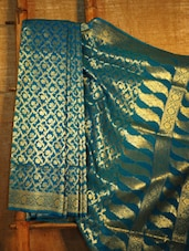 Peacock Blue And Gold Banarasi Saree - BANARASI STYLE
