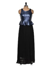 Black Gown With A Blue Shimmery Top - Queens