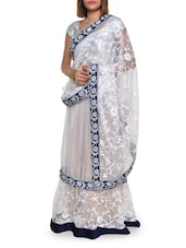 Floral Embroidered White Net Lehenga Saree - Aggarwal Sarees