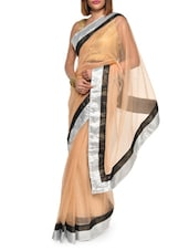 Chic Beige Net Saree With Silver Border - Aggarwal Sarees