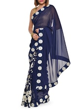 Embroidered Luxe Blue Georgette Saree - Aggarwal Sarees