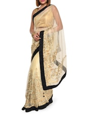 Embroidered Luxe Gold Net Saree - Aggarwal Sarees