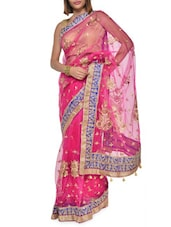 Embroidered Pink Net Saree - Aggarwal Sarees