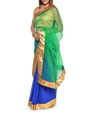 Classy Green And Blue Net Saree - Aggarwal Sarees