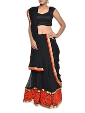Floral Embroidered Black Georgette Lehenga Set - Aggarwal Sarees